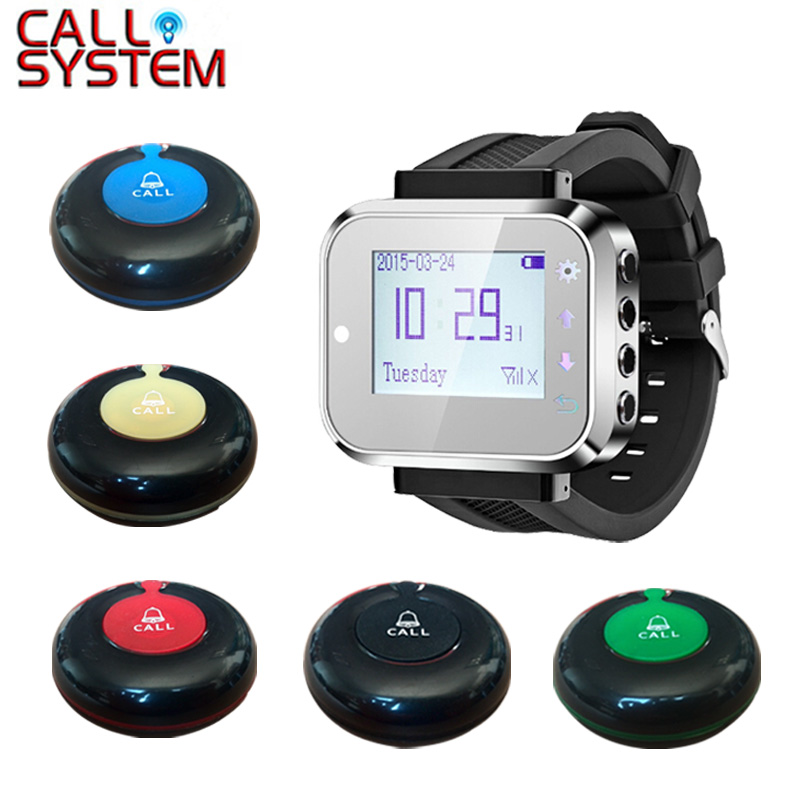 Fashion Design Table Buzzer Calling System Waiter Bell For Restaurant Service Equipment (1 watch+9 call button)Fashion Design Table Buzzer Calling System Waiter Bell For Restaurant Service Equipment (1 watch+9 call button)