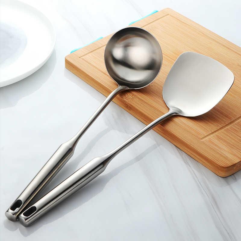 1 set Engrosse Colher Grande Concha de Sopa de Panela de Aço Inoxidável Ferramenta Útil Cozinha Turner Cooking Utensílio Tool-G