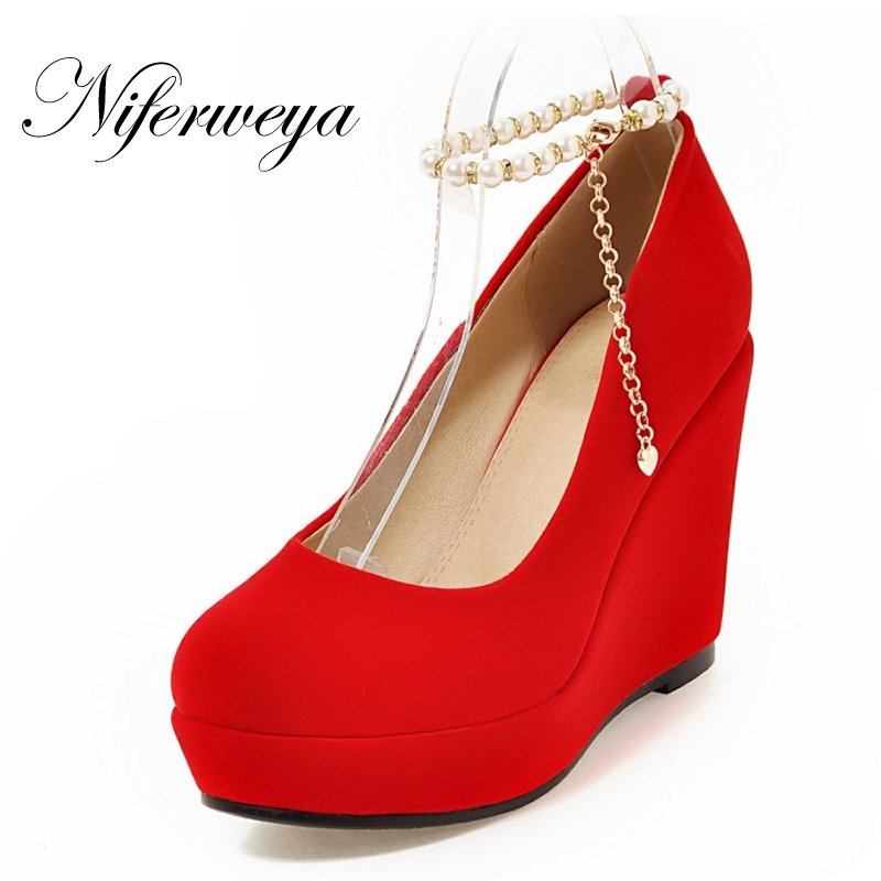 все цены на New Spring/autumn Ankle Strap red women wedding shoes sexy Round Toe Platform Wedges Buckle Strap High heels zapatos mujer