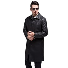 809 New Fashion Men Long Leather Coat sheep fur Coat Man Win