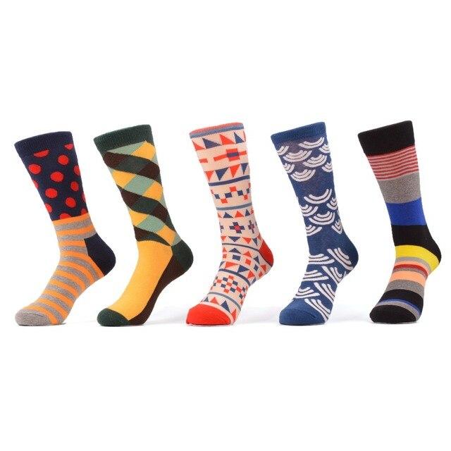 c539e6dd5b14 WARBOYS 5 pair/lot Men's Multi Colorful Stripe Orange Blue Red Dot Socks  Happy Socks