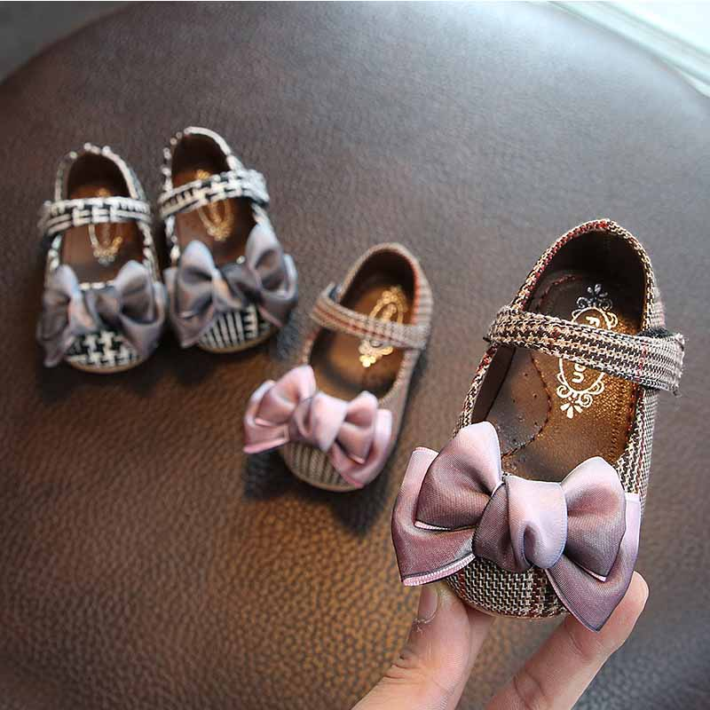 Baby shoes female baby bow plaid princess shoes soft bottom toddler shoes