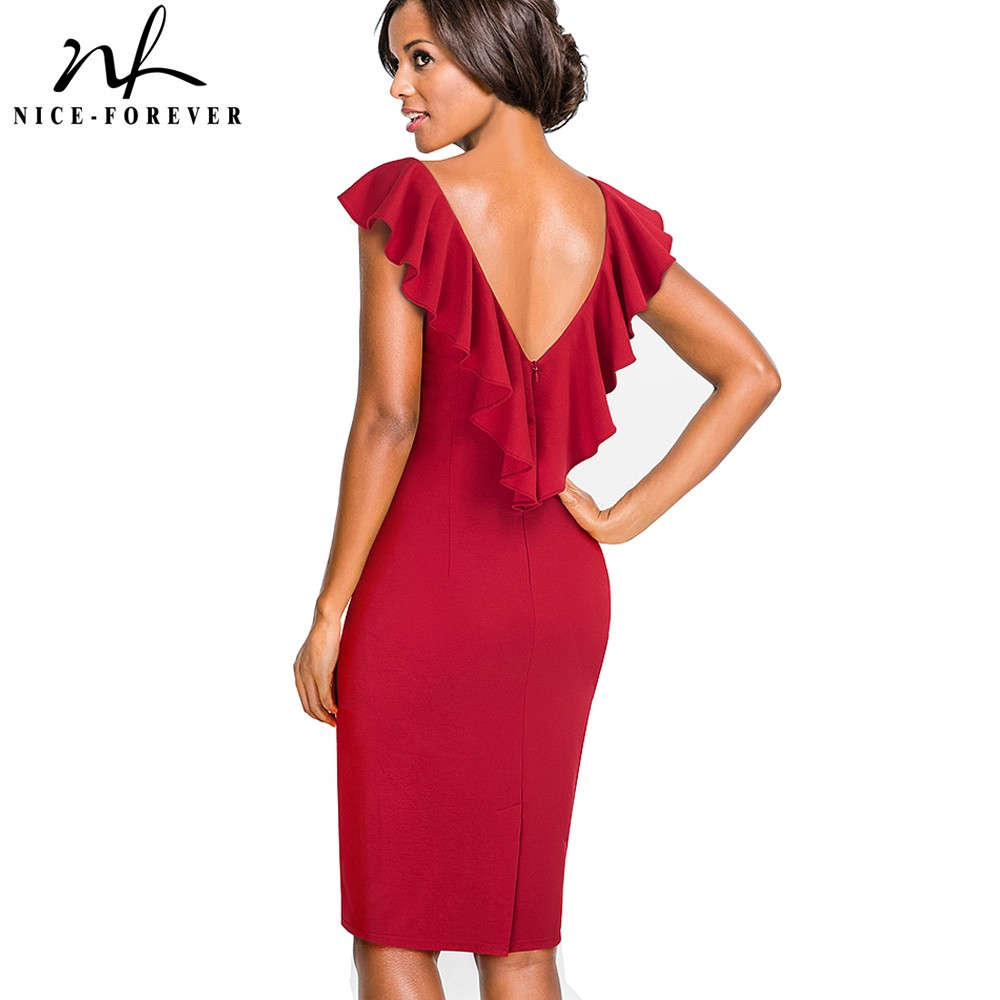 Nice-forever Vintage Solid Color Elegant Zipper Sexy Ruffle Back V Neck vestidos Business Party Bodycon Sheath Women <font><b>Dress</b></font> B428