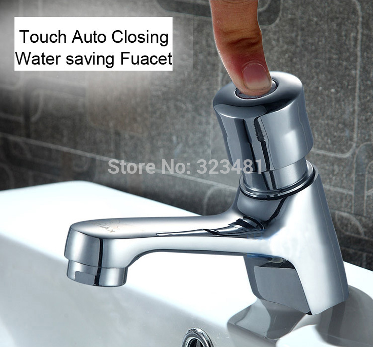 Free Shipping Brass Time Delay Faucet Touch Press Auto Self Closing ...