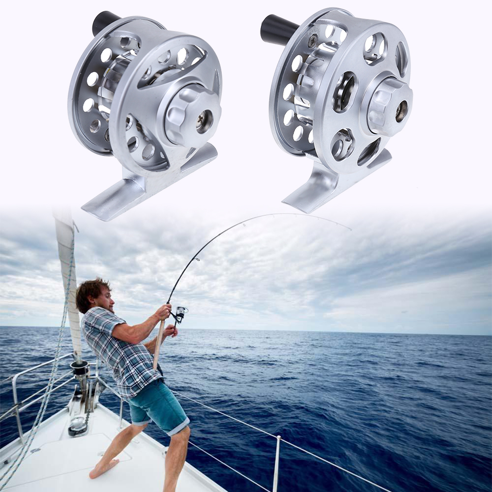 Brake Design Mini Portable Metal Spool Fishing Reel Wheel Durable Hollowed-out Body Fishing Wire Roller Fishing Accessories