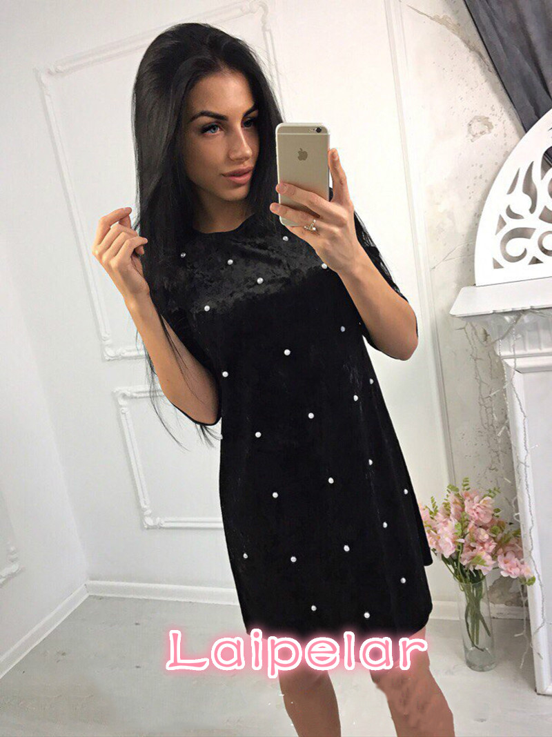 2018 Fashion Velvet Pearl Beaded Dress Autumn Winter Vintage Straight Dresses Casual Women 3 4 Sleeved Party Mini Vestidos in Dresses from Women 39 s Clothing