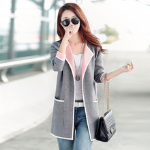 Big Size 3XL 2016 Winter Women Knitwear Sweaters Loose Casual Cardigans With Big Pockets Female Long Overcoats Gray/Pink SL0615