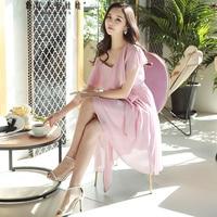Original 2018 Brand Vestidos De Fiesta Summer Boho Fashion Asymmetrical Hem One Shoulder Solid Pink Dress