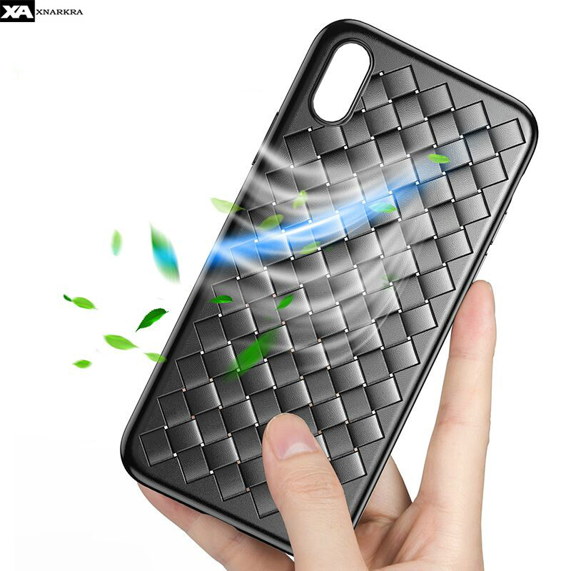 Grid Soft Phone Cases For iPhone 7 8 6 6s Plus Ultra Slim Silicone Simple All inclusive Protective Cover For iPhone X XR XS MAX in Fitted Cases from Cellphones Telecommunications