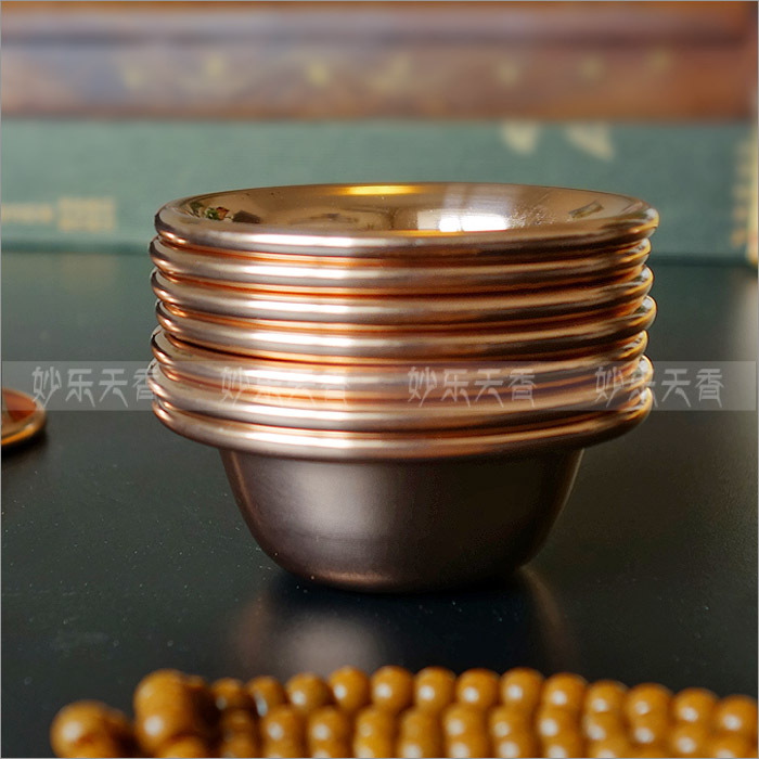 Cuencos de cobre, Discípulos de Buda para suministrar agua a la taza de Buda, cuencos de Buda de alta calidad, contienen siete cuencos