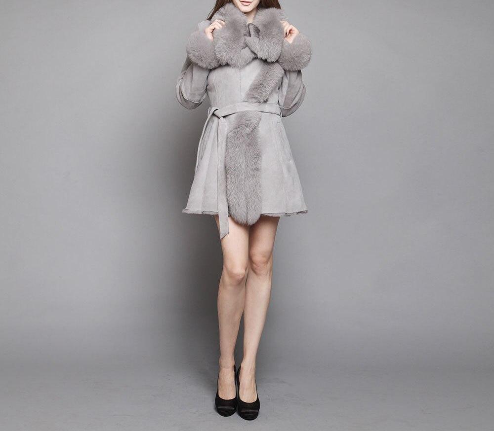 arlene sain Shearling Sheepskin Coat with Fox Fur collar trim tiebelt wrap Beige Gray good quality Free Shipping customize xia