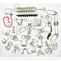 2016 NEW Style 25 Pcs Set IQ Brain Teaser Disentanglement Metal Wire Puzzles For Adults Novelty