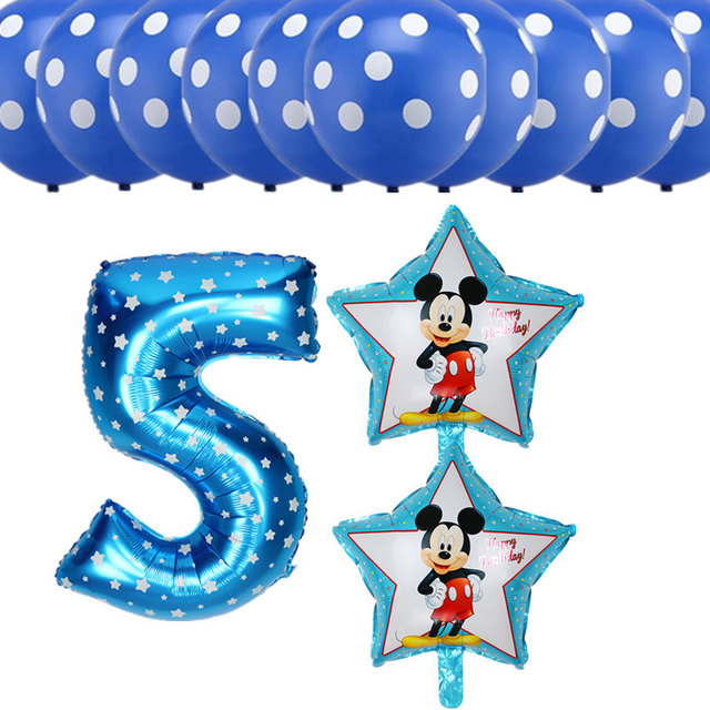 Us 2 22 25 Off 13pcs Set Happy Birthday Party Decoration Balloons Girls Boys 5 Years Old Birthday Digital Foil Balloons Dot Latex Air Balloons In
