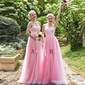 Pretty Long Pink Bridesmaid Dress Lace Tulle Bridesmaid Dress Under 100 V Neck V Back Wedding Bridesmaid Dresses For Party B87