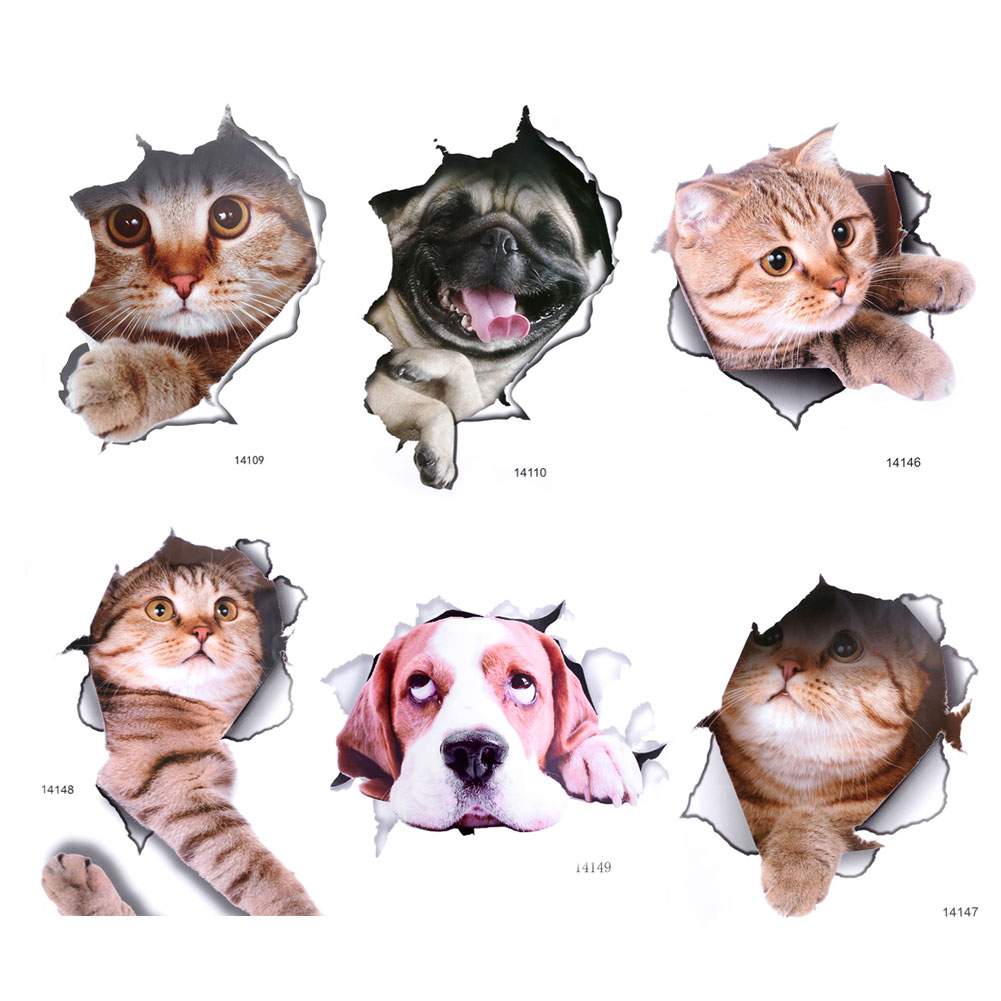 cat toilet stickers d animals mural art home decor posters vinilos decorativos para paredes stickers