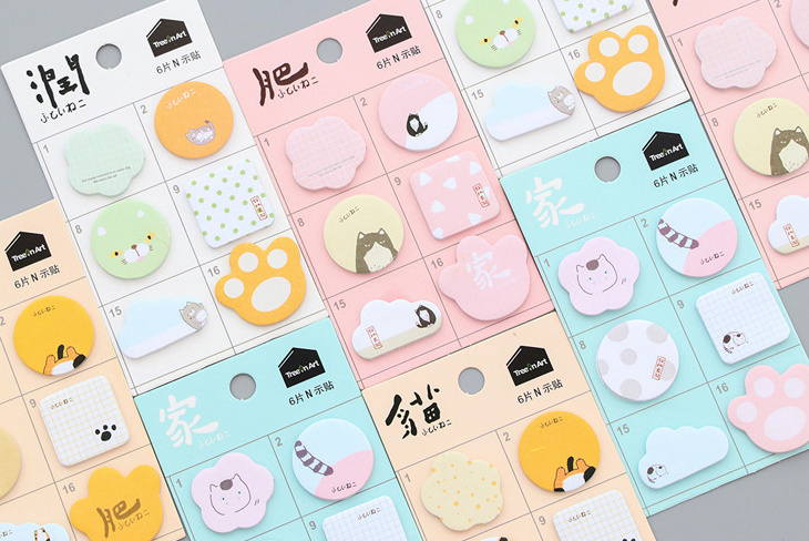 Lovely fat cat Marker Self-Adhesive Memo Pad Sticky Notes Post It Bookmark School Office Supply papelaria