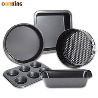 OBRKING Carbon Steel Cake Pizza Pan Nonstick Coating Bread Loaf Mold Cupcake Biscuit Pan Oven Household Kitchen Baking Tools