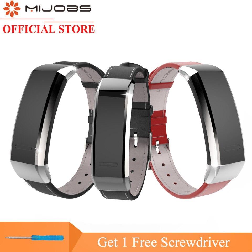 цена на Mijobs Leather Wrist Strap for Huawei Band 2 Pro B29 B19 Smart Bracelet Fitness Tracker Smart Watch Band Replacement Wristband