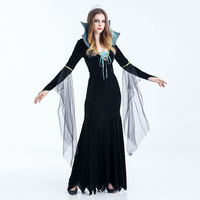 Trajes de Halloween Para As Mulheres 2017 Vestidos Sexy Adulto Cosplay Fantasia Vestido Maxi Deus Vampiro Bruxa Fantasma Noiva Zumbi Dança Feminino