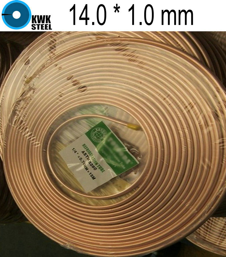 все цены на  Copper Coiled Tube Size 14.0*1.0mm Soft Condition Air Condition Ferigerator Tube R410A OD 14.0mm WT 1.0mm  онлайн