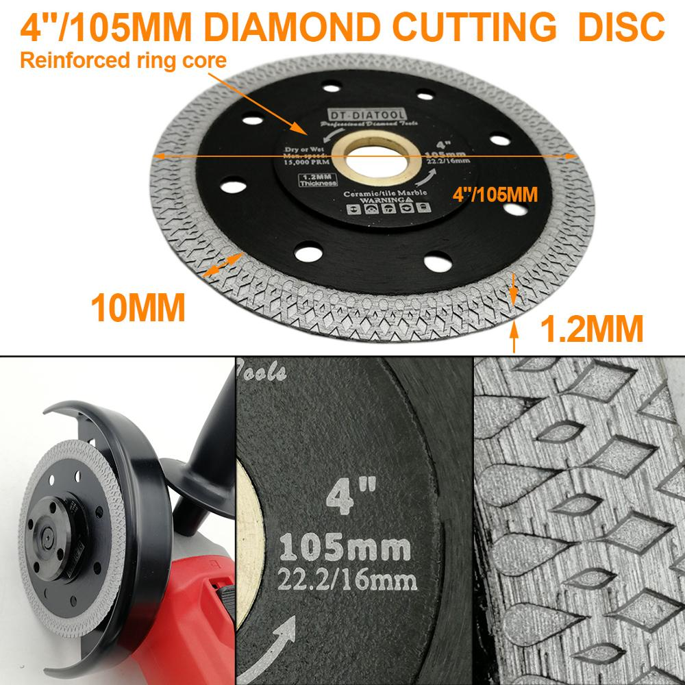 "Image 4 - DT DIATOOL 1pc Dia 4"" 12"" Super thin Diamond Cutting Disc X Mesh Turbo rim segment Saw Blades for Ceramic Tile Porcelain-in Saw Blades from Tools"