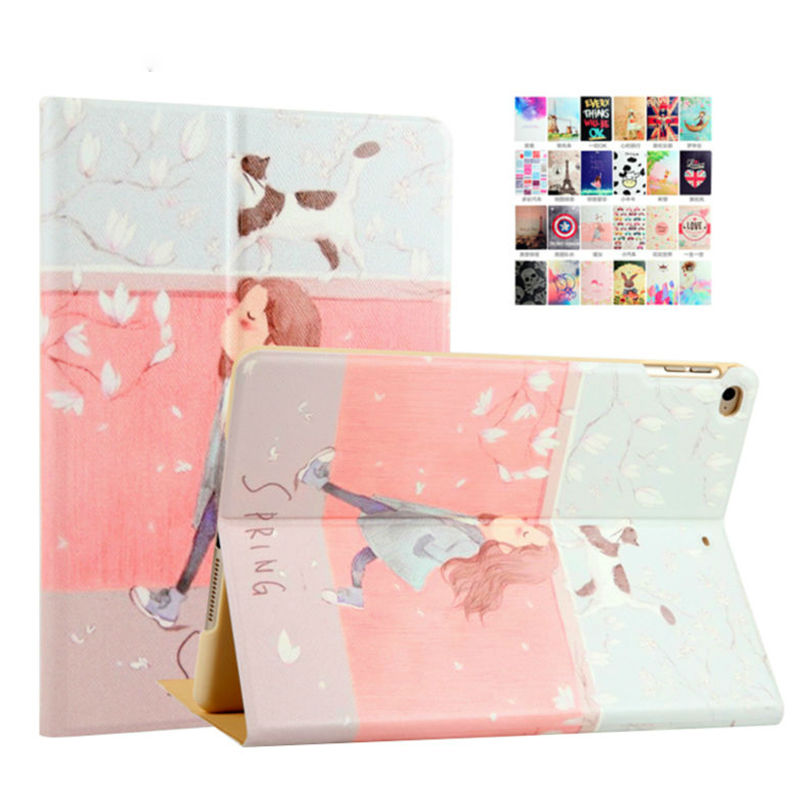 For iPad air 2 PU Leather Case 9.7'' Colorful Painting Protective Stand For Apple iPad 5 6/air 1 2 Tablet Shockproof Smart Cover zoyu smart cover for apple ipad air 2 air 1 case hot case for ipad 5 6 case