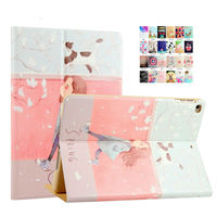 For iPad air   2   PU Leather Case 9.7'' Colorful Painting Protective Stand For Apple iPad 5 6/air   1     2     Tablet   Shockproof Smart Cover