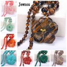 Jewnou Tiger Eye Natural Stone Long Necklace Flowers Pendant Statement Gems Jewelry Women Sweater Chain Crystal Original Gift