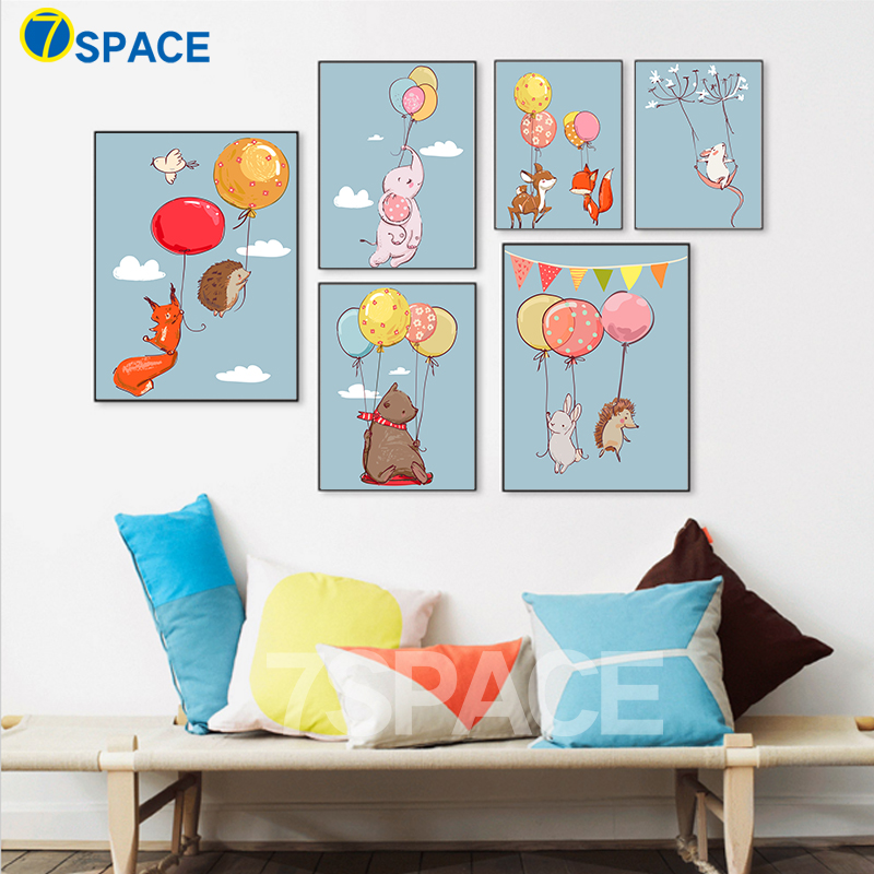 7 space modern balloon animals rabbit fox deer canvas painting for kids room wall art - Animal Painting For Kids