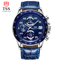 TSS CARRERA Calibre 16 TACHYMETER Chronograph watches speed master Racing Men's watch Scratch Genuine Leather blue dial