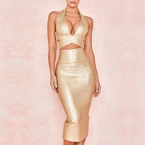 Image 3 - Seamyla 2020 ใหม่ Bodycon ผ้าพันแผลชุดผู้หญิงพิมพ์ Halter 2 ชิ้นชุดเซ็กซี่คลับ Celebrity Dresses Vestidos