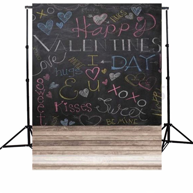 5x7FT Love Blackboard Valentine's Day Photography Backdrop Photo Studio Background Cloth Party Decoration Photo Booth Props 5 x 7 ft pink love hearts print photo backdrop for wedding party portrait photography studio background s 1305