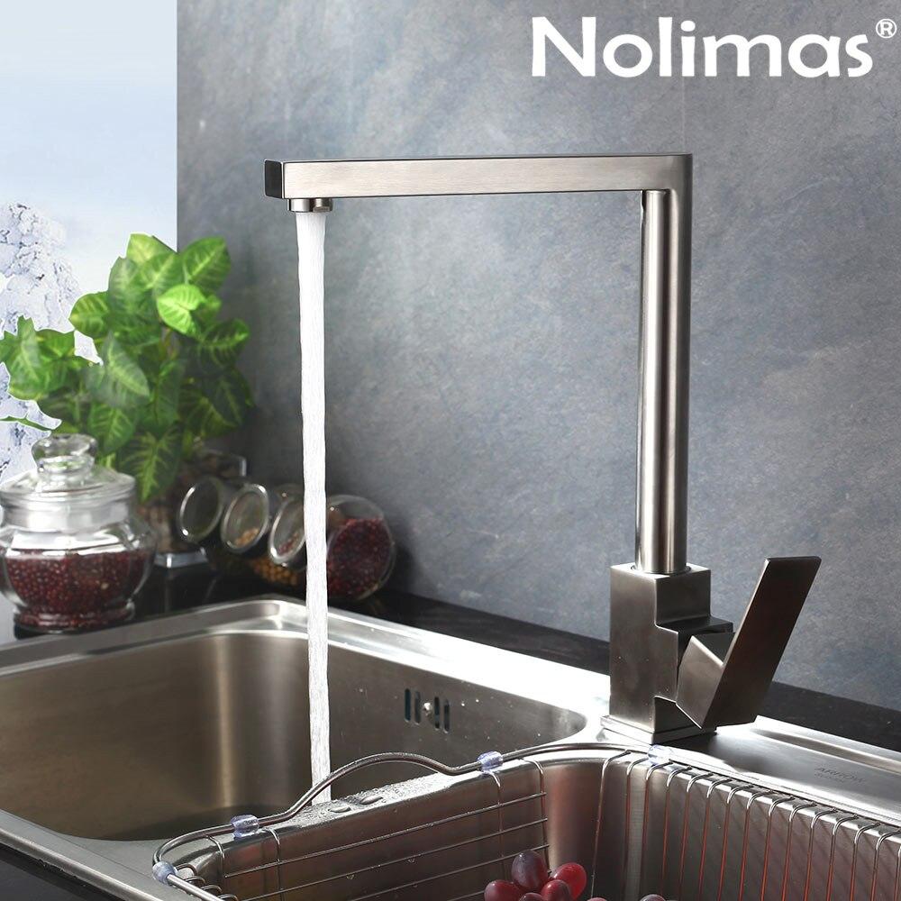 SUS 304 acier inoxydable bobine mélangeur eau brossé nickel peintures robinet cuisine robinet chaud et froid Double contrôle robinet