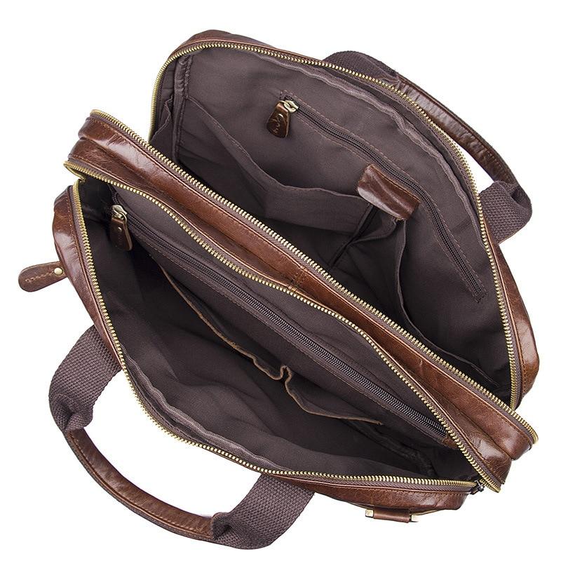 Herrentaschen Aktentaschen Nesitu Vintage Kaffee Echtes Leder Männer Aktentasche Messenger Taschen Portfolio 14 laptop Business Herren Büro Tasche # M7092