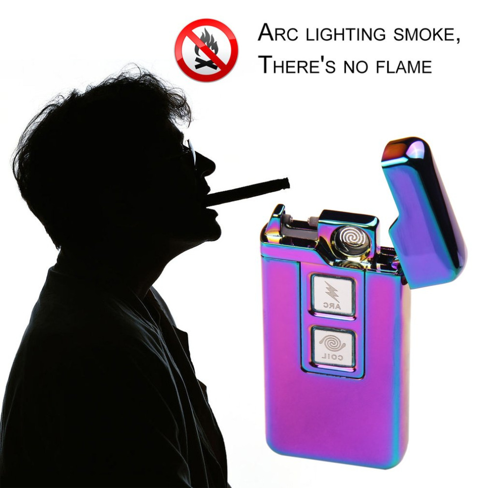 Novelty Arc Dual-purpose Touch Induction Ignition Windproof Pulsed Plasma Lighters USB Rechargeable Electric Cigarette Lighter