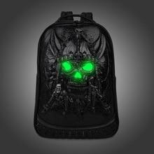 2017 fashion Brand 3D Skull head design PU leather backpacks vintage Rock men bags Rivet computer bags good quality Travel Bags
