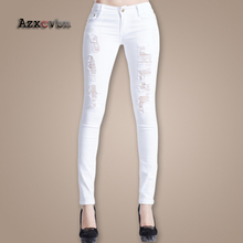 2017 Spring And Autumn Hole Ladies Jeans Slim Thin Elastic Beggar Bound Feet Pencil Low Waist Ripped Trousers Ripped Jeans HM052