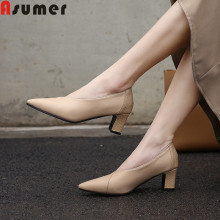 ASUMER 2019 new pumps women shoes pointed toe shallow high heels shoes