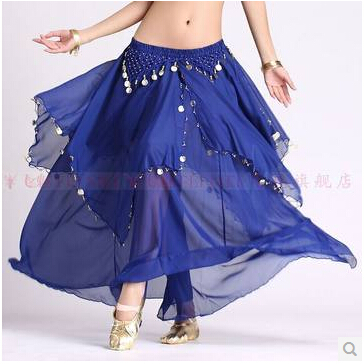 Belly dance costumes senior sexy chiffon gold coins belly dance skirt for women belly dancing clothes skirts
