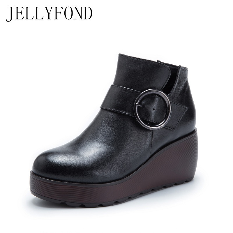 2017 Vintage Style Platform Wedge Boots Women Genuine Leather Ankle Boots Original Designer Handmade Cow Leather Shoes Woman candy color genuine leather vintage style women casual sandals 2017 designer open toe platform wedge handmade summer shoes