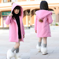 Toddler Korean Girls Single breasted Solid Pink/Grey Hooded Cotton Thickening Long Sleeve Winter Clothes for Kids Outwear Coat