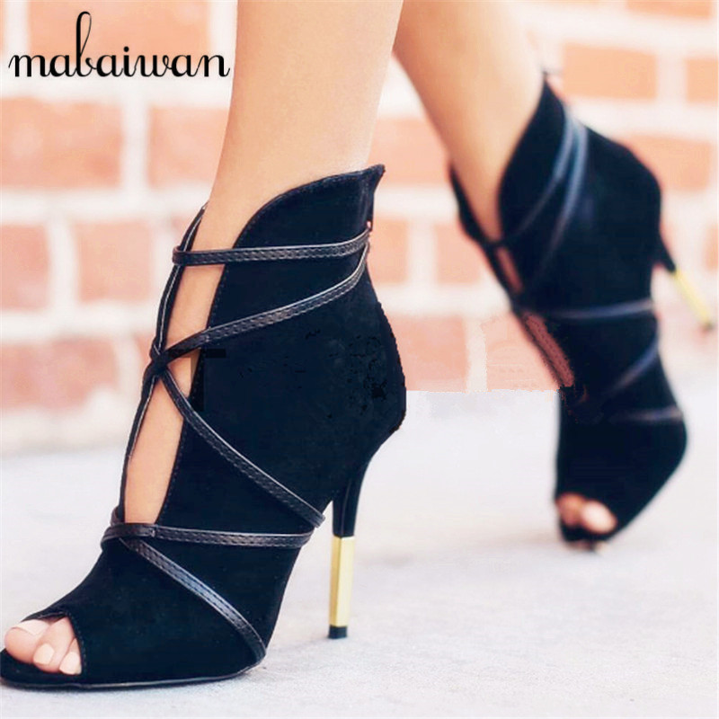 Mabaiwan Women Ankle Boots Peep Toe V Front High Heels Women Pumps Dress Shoes Woman Suede Botines Mujer Straps Summer Boots купить