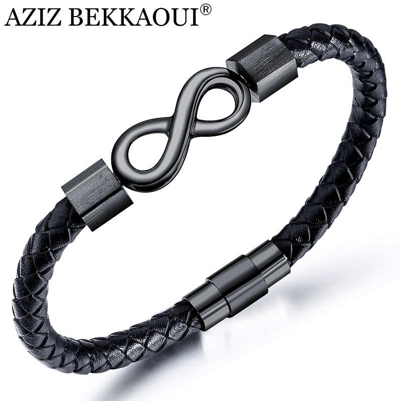 AZIZ BEKKAOUI Hot Sale Popular Endless Love Infinity Bracelet Stainless Steel Leather Bracelets for Men Fashion Jewelry Dropship