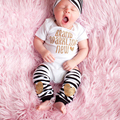 Baby Short Sleeve Bodysuits+Leg Warmers+Headband sets Infant Toddler Letter Printed Bodysuits Overalls Clothing Outfits