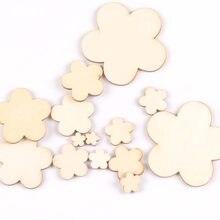 Padrão de flor mista fatias de madeira diy artesanato artesanal ornamentos artesanato de madeira inacabado decoração para casa artes 10-80mm m1962