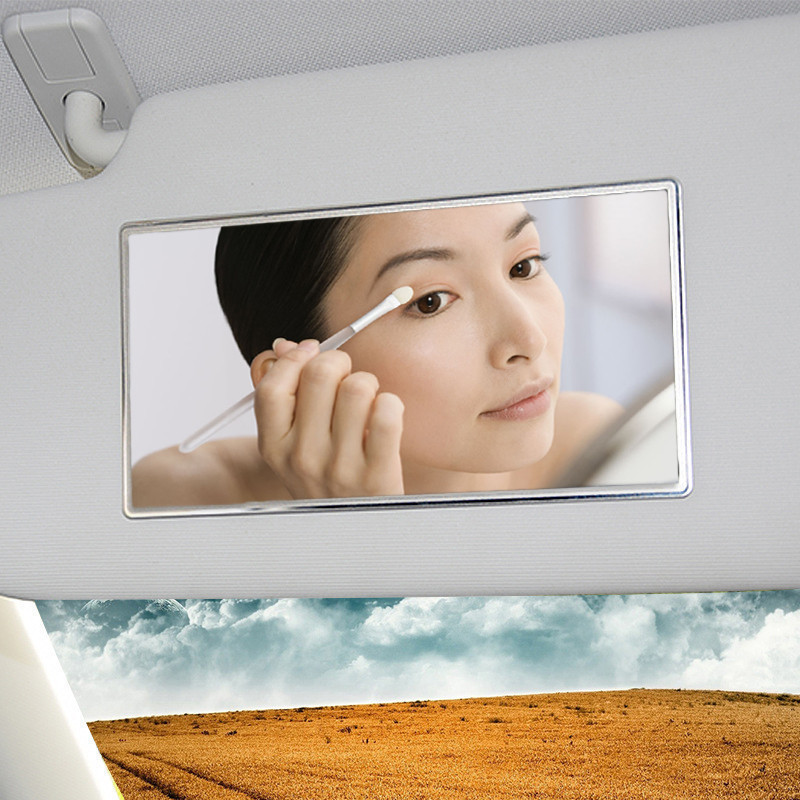 15X8cm Stainless Steel Cosmetic Mirror Durable Car Makeup Mirror Decorative Car font b Interior b font