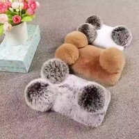 Fashion Girl S Rabbit Fur Plush Soft Diamond Bling Rhinestone Phone Case Cover For Iphone 7