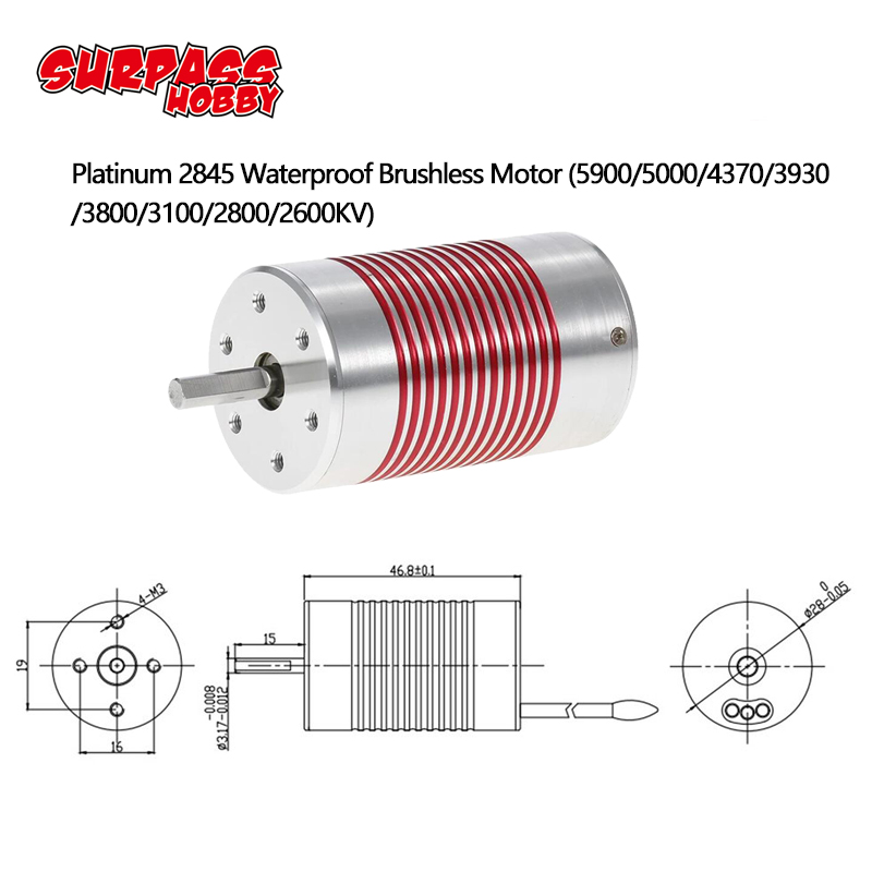 SURPASSHOBBY Platinum Waterproof Series 2845 4370KV 3930KV 3100KV Brushless Motor for Wltoys 12428 HG P601 1/14 1/12 RC Car-in Parts & Accessories from Toys & Hobbies