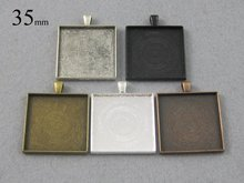 25 Pieces 35mm SquarePendant Tray, Square Cabochon Setting in Silver, Bronze, Copper, Antique Silver and Blacktheof