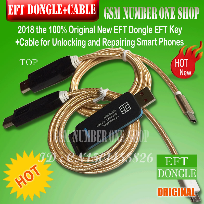 2019 Original New EFT DONGLE AND 2 IN 1 CABLE SET / Eft Dongle EFT Key + 2 In 1 Cable  For Unlocking And Repairing Smart Phones